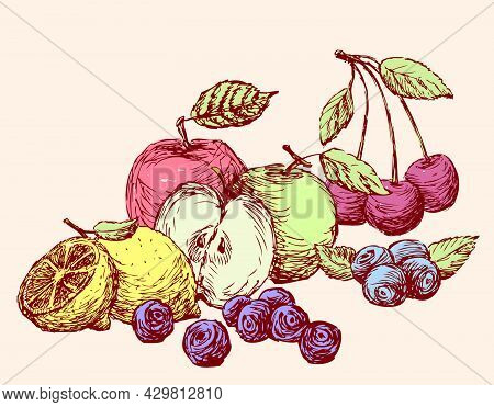 Still-life Of The Various Drawn Fruit. All Objects Isolated