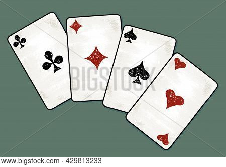 Illustration Of Four Drawn Aces Cards On Green Background