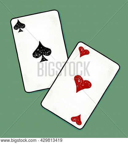Illustration Of Two Drawn Aces Cards On Green Background