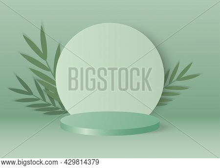 Cylinder Podium Made On Green Pastel Background With Leaves.mock Up For The Exhibitions,presentation