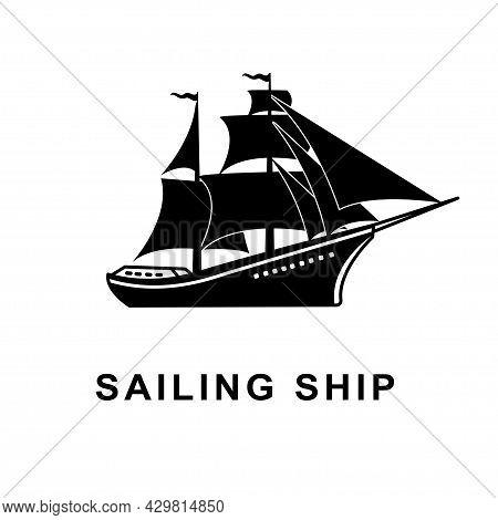 Sailing Ship With Full Sail Sailing In The Sea Silhouette, Ship Logo Design