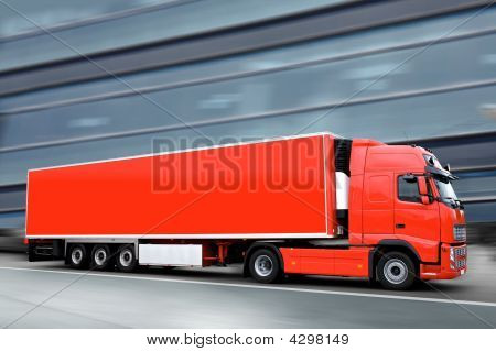 Red Semi Truck In The Street