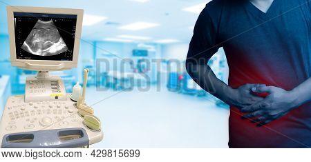 Ultrasound Machine Isolated On White. Abdomen Imaging Ultrasound System. Ultrasonography Machine. Di