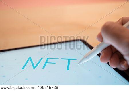 Nft Non-interchangeable Token Creation Of Crypto Art, Concept.