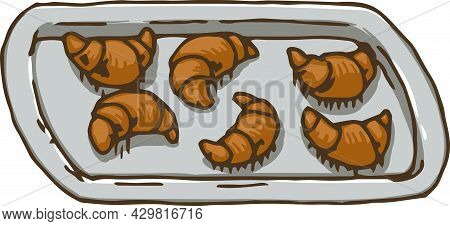 Gray Metal Baking Tray With Croissants. Vector Illustration Isolated On White