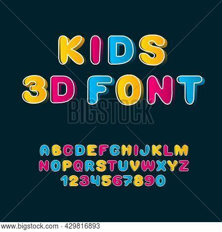 Kids 3d Font. Colorful Children Latin Alphabet. English Letters With Gradient.