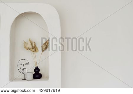 Wall Decor At Interior Design, White Arch Niche. Vintage Style Decoration Of Living Room, Cope Space