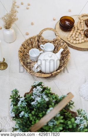Closeup At Decor, Home Comfort Decoration At Blanket. Rustic Cozy Design For Picnic Outside, Natural