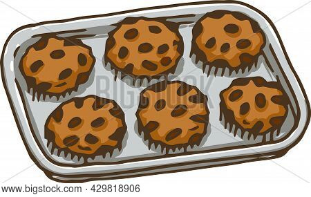 Gray Metal Baking Tray With Six Oatmeal Cookies. Vector Illustration Isolated On White