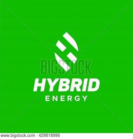 A Modern, Bold And Unique Logo About Hybrid, Leaf And Letter H. Eps 10, Vector.