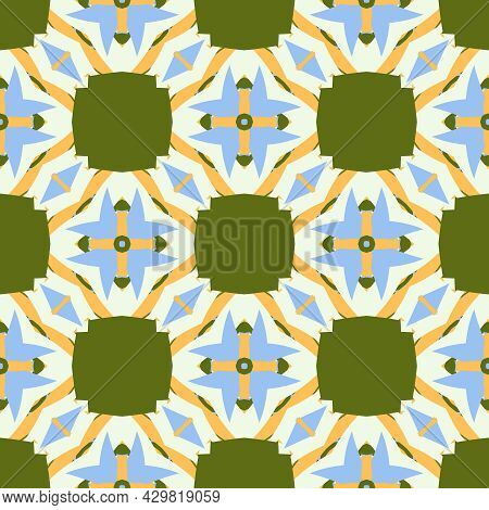 Seamless Abstract Geometric Floral Pattern. Great For Fashion Design And House Interior Design. Orna