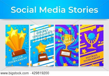 Game Tournament Poster Social Media Stories Vector Illustration Soccer, Cricket, Golf And Softball