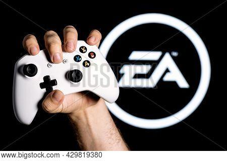 Kazan, Russia - August 14, 2021:  Electronic Arts Inc. Is An American Video Game Company. A White Ga