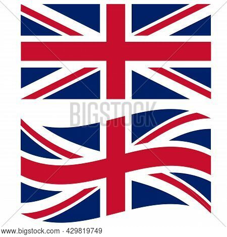 British Flag On White Background. British Waving Flag Sign. National British Flag Symbol. Flat Style