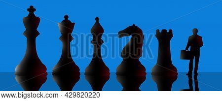 Chess Pieces Are Seen With A Businessman In This 3-d Illustration About Being A Pawn Of Your Employe