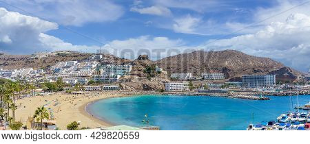 Landscape With  Puerto Rico Village And Beach On Gran Canaria, Spain