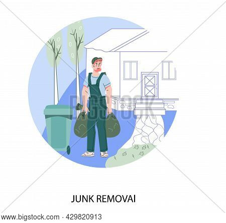 Junk Removal Service Banner Or Emblem With Scavenger Carrying Garbage Bags, Flat Cartoon Vector Isol