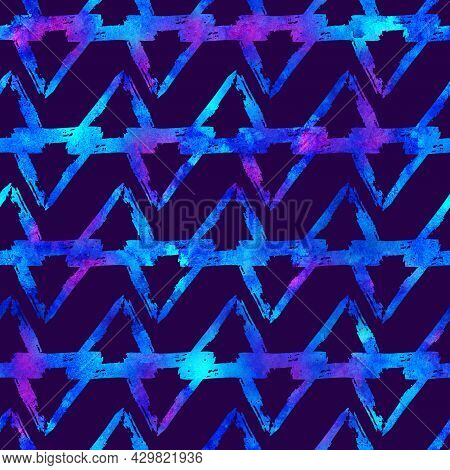 Brush Stroke Geometric Grung Pattern Seamless In Blue Color Background. Gunge Collage Watercolor Tex