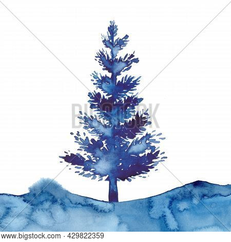 Christmas Watercolour Blue Tree Design Background Watercolor Style Xmas Pine Tree And Snow Isolated