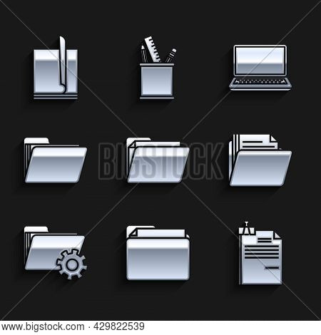 Set Document Folder, File Document And Binder Clip, Folder Settings With Gears, Laptop And Icon. Vec