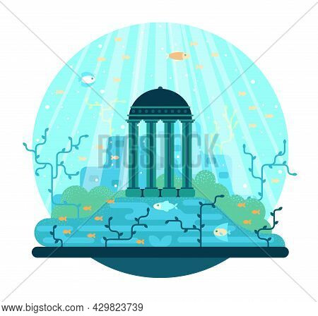 Monument To An Ancient Civilization Stands On The Seabed Among Fish And Algae - Vector Cartoon Illus