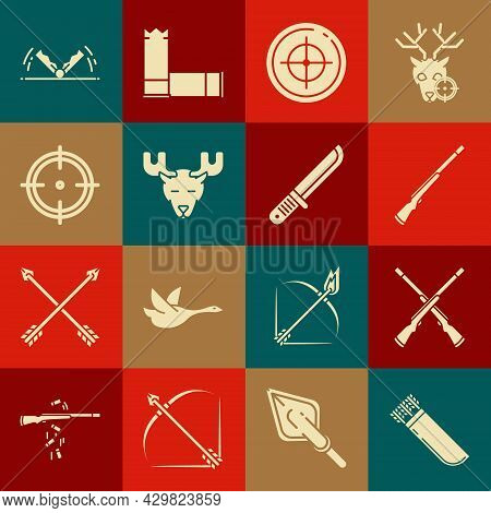 Set Quiver With Arrows, Two Crossed Shotguns, Hunting, Target Sport For Shooting Competition, Moose