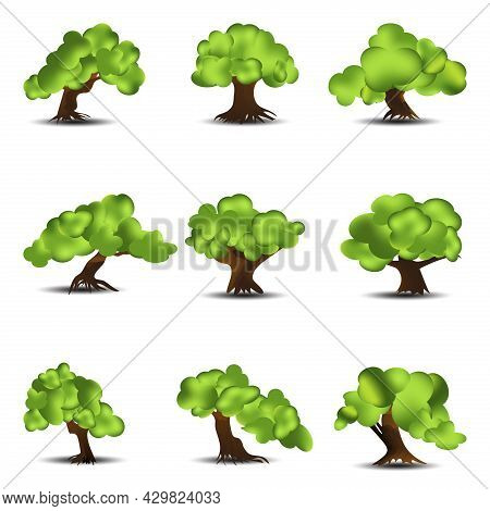 Realistic Tree With Gradient Leaves Collection Bundle