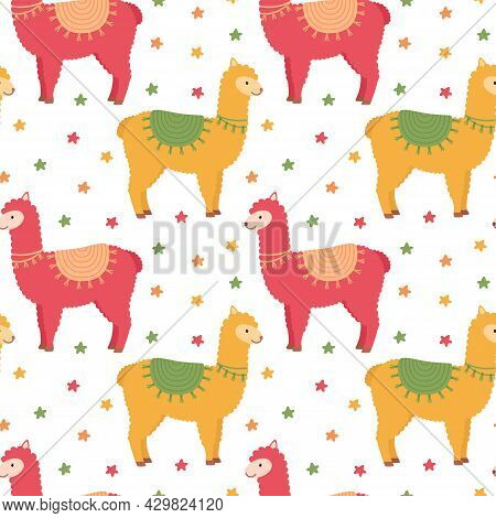 Seamless Pattern With Lamas And Stars, Vector Illustration