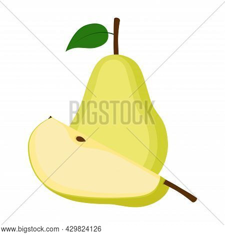 Pear, Whole Fruit And Slice, Vector Illustration