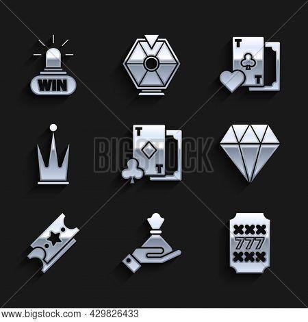 Set Playing Card With Diamonds, Hand Holding Money Bag, Slot Machine Lucky Sevens Jackpot, Diamond,