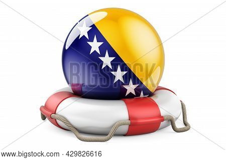 Lifebelt With Bosnian Flag. Safe, Help And Protect Of Bosnia And Herzegovina Concept. 3d Rendering I