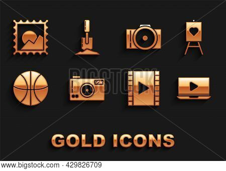 Set Photo Camera, Wood Easel Or Painting Art Boards, Online Play Video, Play Video, Basketball Ball,