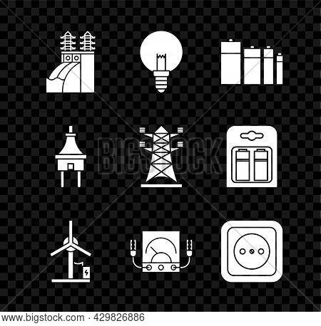 Set Nuclear Power Plant, Light Bulb, Battery, Wind Turbine, Ampere Meter, Multimeter, Voltmeter, Ele
