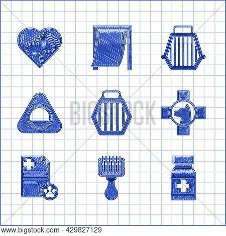 Set Pet Carry Case, Hair Brush For Dog And Cat, Dog Medicine Bottle Pills, Veterinary Clinic Symbol,