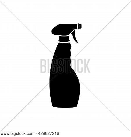 Bottle Antiseptic. Black Icon Antibacterial Bottle. Antiseptic Spray In Flask. Vector Illustration F