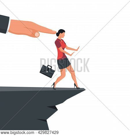 Man Pushes A Businesswoman With A Cliff. Big Hand Of Leader Pushes Subordinate Employee Into Abyss.