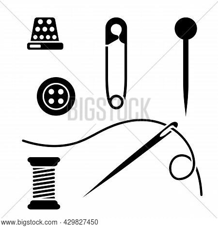 Safety Pin. Set Of Pin, Open And Closed And Fastened. Spool Of Thread With A Needle And A Thimble. B