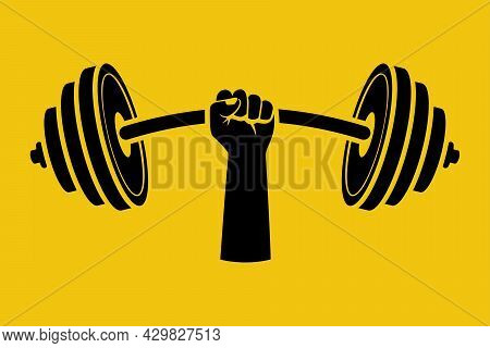 Strong Concept. Black Silhouette Barbell In Hands Icon. Hand Of Man Holding A Dumbbell. Vector Illus