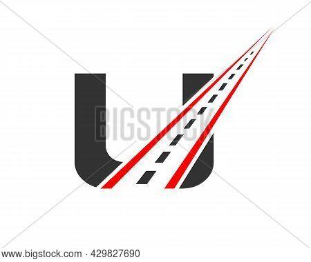 Transport Logo With U Letter. U Letter Road Logo Design