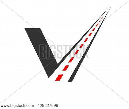 Transport Logo With V Letter Concept. V Letter Road Logo Design