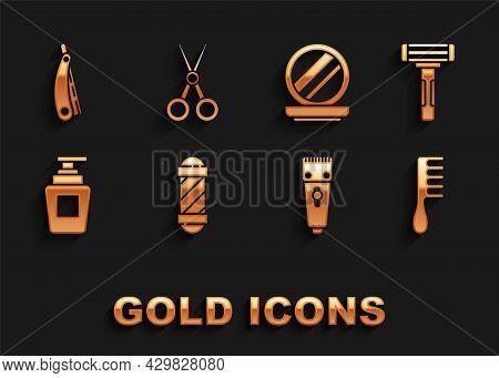 Set Classic Barber Shop Pole, Shaving Razor, Hairbrush, Electrical Hair Clipper Shaver, Bottle Of Sh