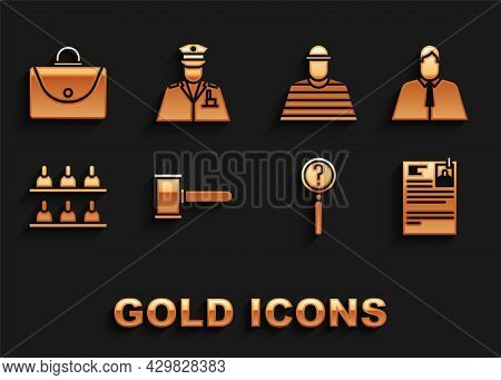 Set Judge Gavel, Lawyer, Attorney, Jurist, Lawsuit Paper, Magnifying Glass With Search, Jurors, Pris