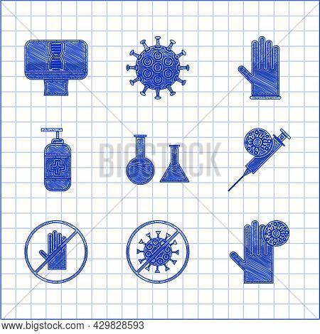 Set Test Tube And Flask, Stop Virus, Hand With, Syringe, No Handshake, Bottle Of Liquid Antibacteria