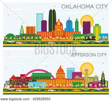 Jefferson City Missouri and Oklahoma City Skyline Set with Color Buildings and Blue Sky. Business Travel and Tourism Concept with Modern Architecture.