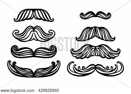 Big Set Of Hand Drawn Vector Mustache. Funny Mustache. Collection Of Cartoon Barber Silhouette Hairs