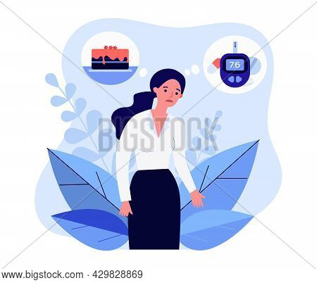 Cartoon Woman Feeling Unwell Due To Level Of Glucose In Blood. Flat Vector Illustration. Girl Thinki