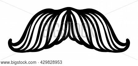 Hand Drawn Vector Mustache. Funny Mustache. Collection Of Cartoon Barber Silhouette Hairstyle . Vari