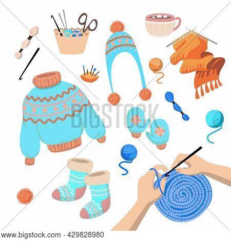 Set Of Cute Colorful Knitting Symbols. Cartoon Vector Illustration. Knitting Hands, Woolen Hat, Seas