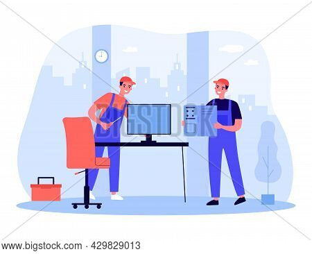 Professional Technicians Repairing Computer In Office. Men In Uniform With Repair Tools Flat Vector