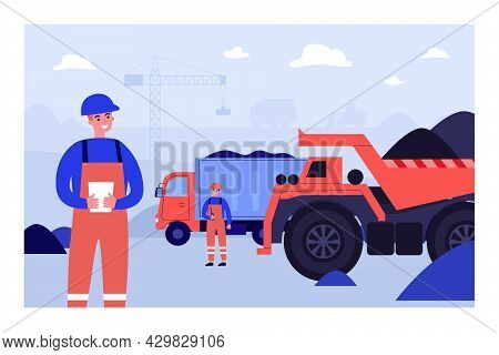 Builder Characters In Uniform At Construction Site. Construction Workers And Heavy Machinery Flat Ve